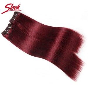 Image 2 - Sleek brazylijski Yaki proste włosy 4 zestawy Deal 190G 1 paczka ludzkie włosy splot wiązki nie Remy ludzki włos czerwony/Burg/1B/2/4 do przedłużania włosów