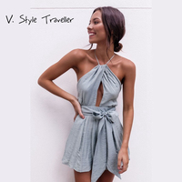 Casual Camis Playsuit Cut Out Sexy Bodysuit Women Shorts Boho Jumpsuit Vestido Sash Bow Summer Style