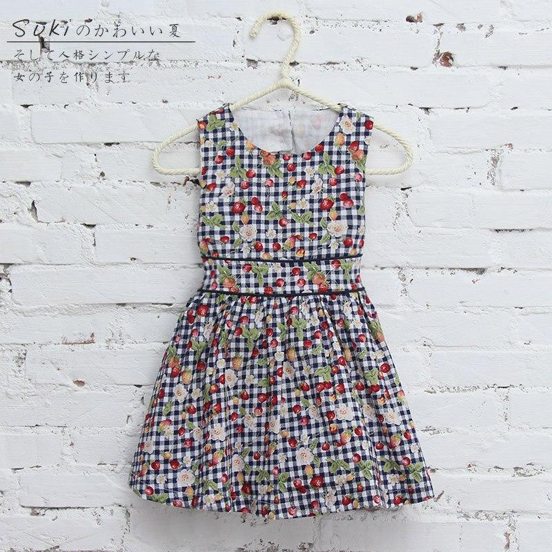 2016 new design cotton flower printed plaid sleeveless summer cute baby girl dress knee highs 1 2 3 4 years