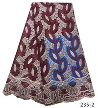 цена на African Lace Fabric 2019 High Quality Nigerian Lace Fabrics With Beads Embroidery French Tulle Lace Fabric Free shipping 235