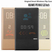 Funda con tapa inteligente para Huawei P8 Max, colorida, vista ventanas, 100% Original