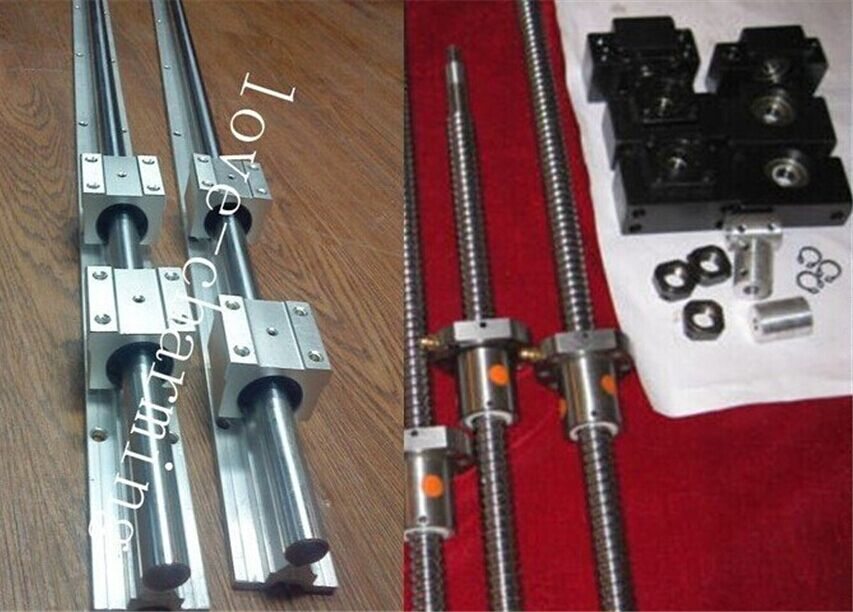 2 ballscrew RM1605-450//500mm+BK//BF12 bearing+SBR16 linear slide rail CNC set