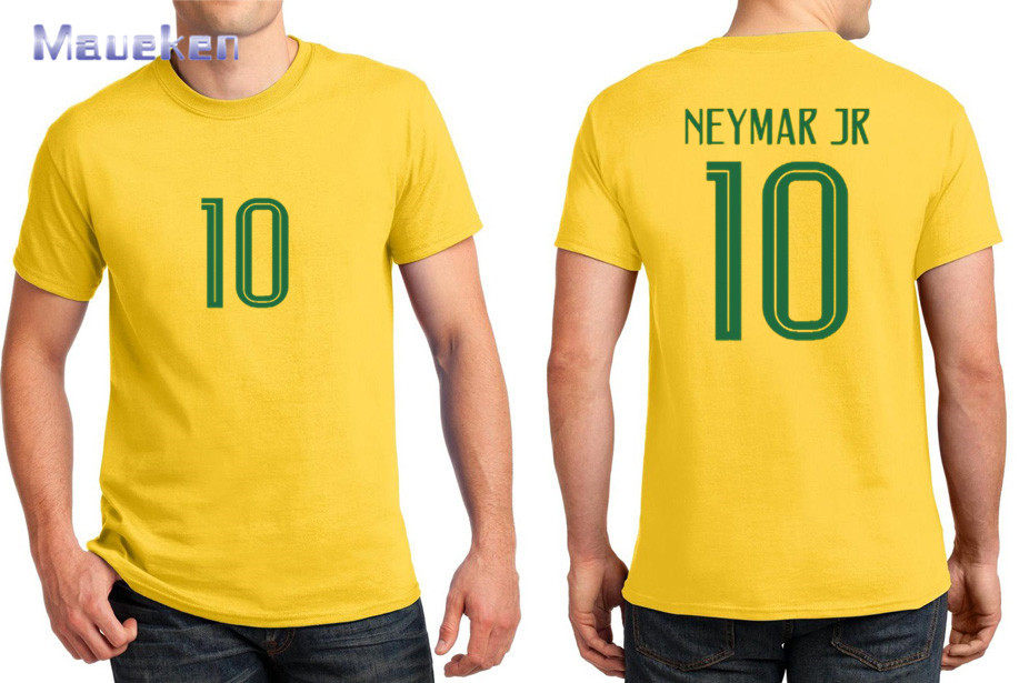 Hot 2018 Printed For Name Just A T-shirt 10 Neymar Jr Yellow Blue T Shirt For Brazil Brasil Fans Gift 0408-3