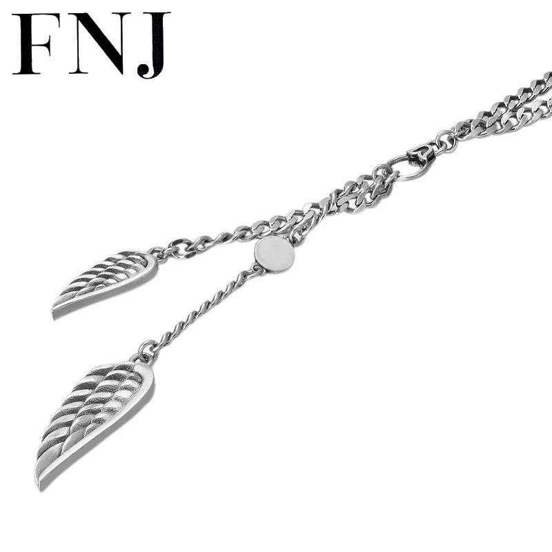 FNJ 3.5mm Chain Feather Charm Necklaces 925 Silver 60cm Fashion Original S925 Thai Silver Women Men Pendant Necklace Jewelry