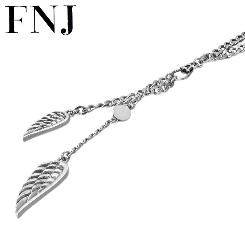 FNJ 3.5mm chaîne plume charme colliers 925 argent 60 cm mode Original S925 Thai argent femmes hommes pendentif collier bijoux