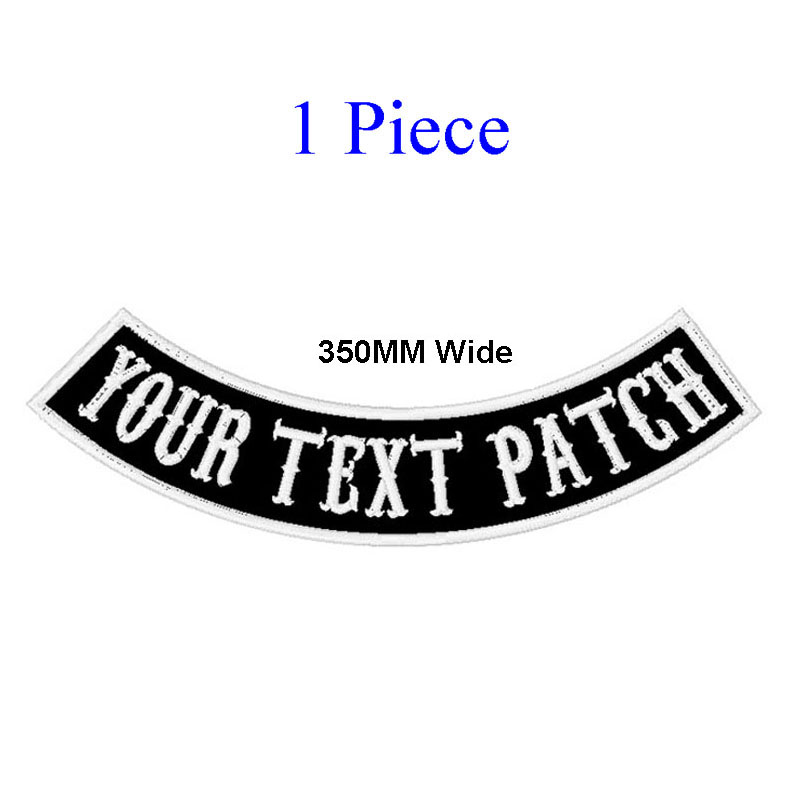 <font><b>1</b></font> PC 350MM wide CUSTOM TOP OR BOTTOM MOTORCYCLE EMBROIDERED <font><b>MC</b></font> ROCKER <font><b>PATCH</b></font> 350MM WIDE BIKER VEST CUT image