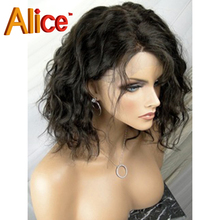 Alice Top Grade Full Lace Human Hair Wigs For Black Women Brazilian Human Wavy Lace Front Wigs With Baby Hair Bleached Knots