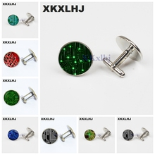 XKXLHJ  New Circuit Board Cufflinks Computer Circuit Board Cuff Link for Shirt Jewelry Shirt Cufflinks For Men Cuff Link 98% new for gree air conditioning computer board circuit board m503f3 a 30135035 grj503 a2 good working