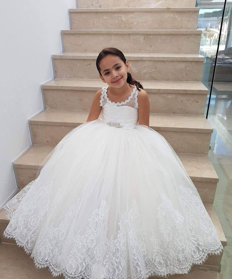 New Arrival 2019   Flower     Girl     Dresses   For Weddings Ball Gown Tulle Appliques Lace Long First Communion   Dresses   For Little   Girls