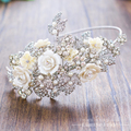 T3 Gorgeous crystal hairband floral women crown pearl jewelry forehead frontlet marriage hair ornaments luxurious tiara dongyao