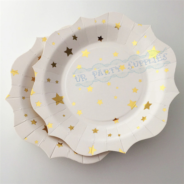 40pcs Gold Star Plates 7inch/18cm Flower Edge Dishes for Graduation Party Decor First Birthday & 40pcs Gold Star Plates 7inch/18cm Flower Edge Dishes for Graduation ...