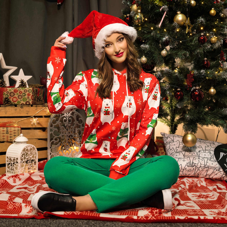 2019 New Autumn Hooded  Sweatshirt Long-sleeved Clothing for Christmas Lovers Loose Women Sweatshirt  Womens Hoodies Pullover