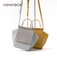 Viewinbox Fashion Should Messenger Bag For Women 2017 New Design Trapeze Handbag Split Leather Shoulder Cross