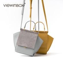 Viewinbox Luxury Brand Shoulder Bag Original Design Split Leather Fashion Trapeze Handbag Women Crossbody Messenger Bag