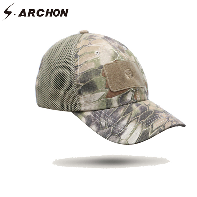 S.ARCHON Adjustable Multicam Military Hats Men Airsoft Mesh Cotton Tactical  Baseball Cap US Army Combat Snapback Camouflage Caps 3bd7a1db461c