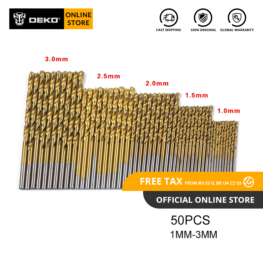 DEKO GJ25 50Pcs/Set Twist Drill Bit Set Saw Set HSS High Steel Titanium Coated Drill Wood Tool 1/1.5/2/2.5/3mm For Wood Drilling