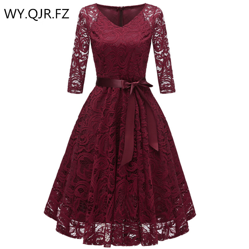 CD1592#V-neck Bow Lace Short Bridesmaid Dresses Wedding Party Dress Prom Bridal Gown Cheap Wholesale Women's Fashion Clothing