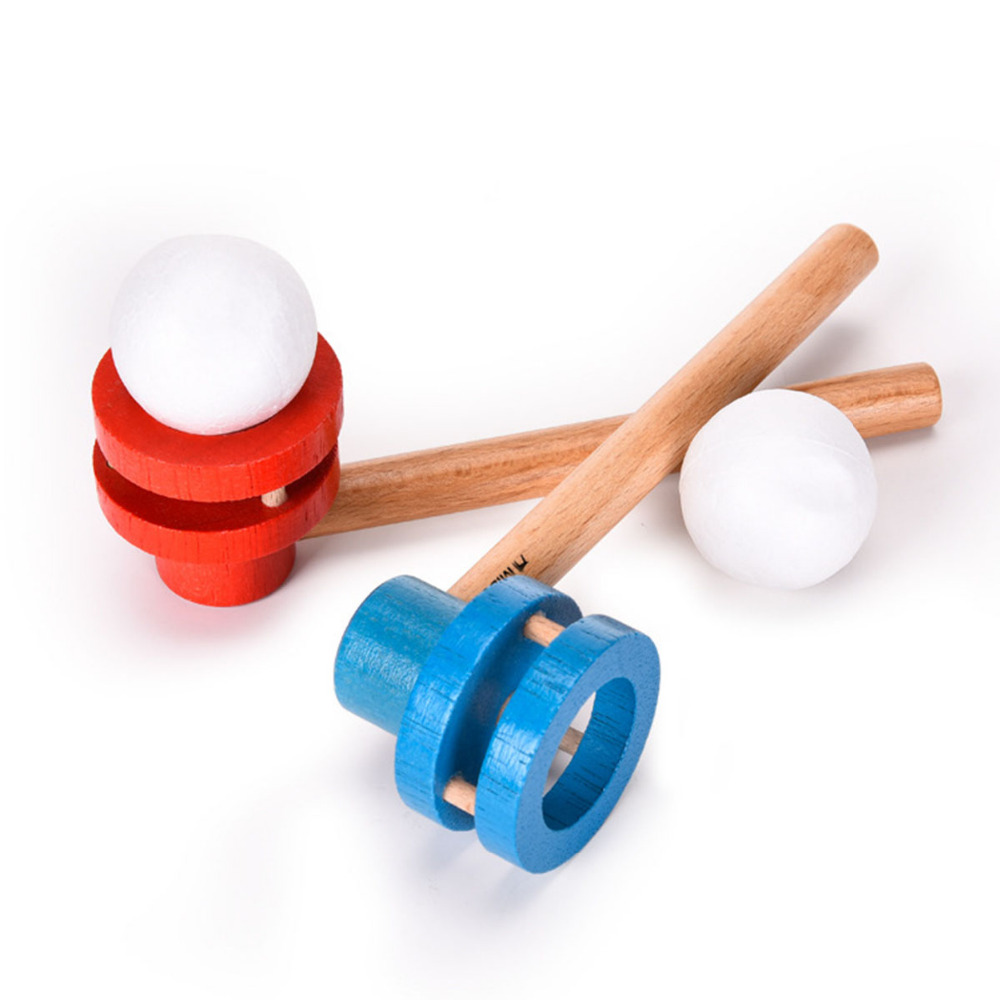 Wooden Pipe+Foam Balls Childrens Outdoor Sports Funny Toys Magic Foam Floating Gift Blow Juggling Balance Educational Games Fun