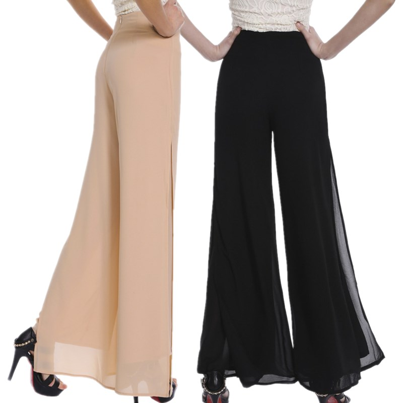 Women Ladies Vintage Loose High Waist Long Trousers Chiffon Side Split  Casual Palazzo Pants Wide Leg 2e9c48955d55