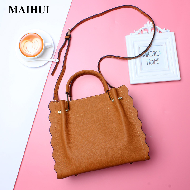 Maihui Women leather handbags cowhide real genuine leather bags 2018 new fashion ladies shoulder bags high quality tote bag 2017 new female genuine leather handbags first layer of cowhide fashion simple women shoulder messenger bags bucket bags