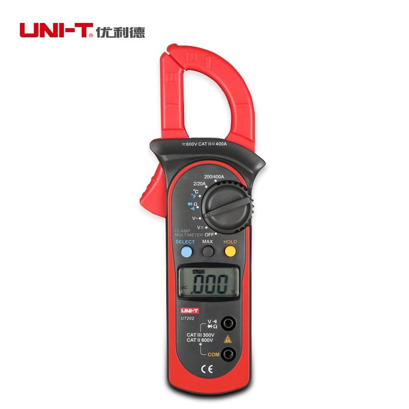 UNI-T UT202 LCD Digital Display Clamp Multimeter Auto Power Off Low Voltage Indicatin Protection DC AC Resistance Diode Tester  uni t ut90c ut 90c low price best multimeter digital with lcd display