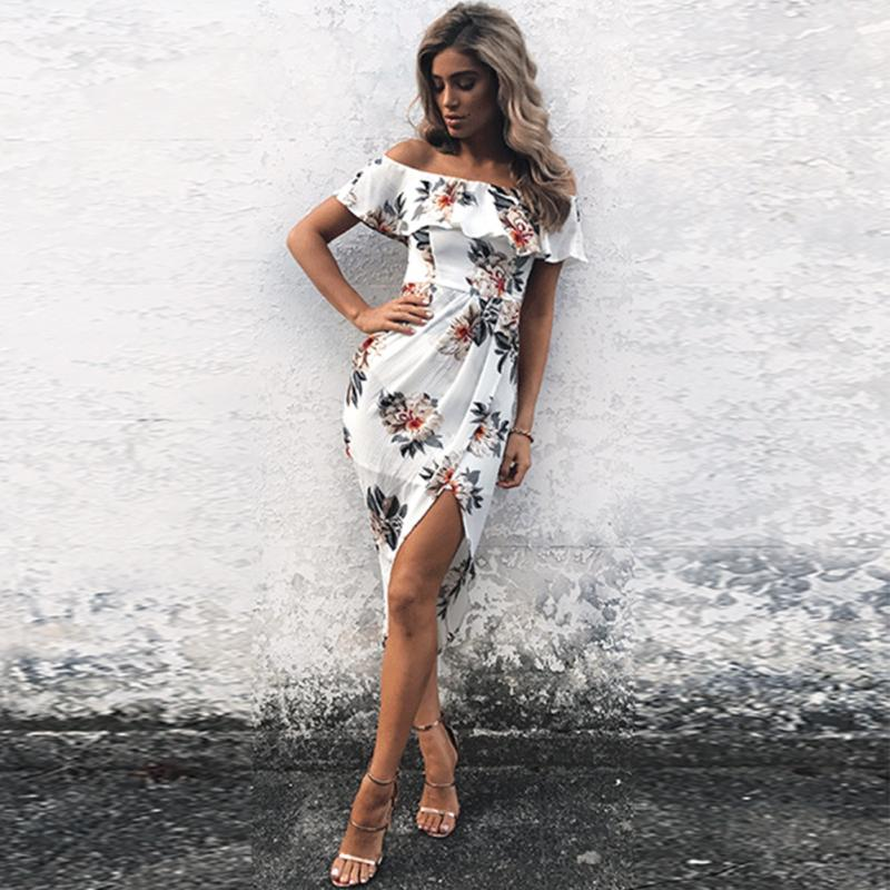 b8cb335017 Fashion fashion women off shoulder Knee length beach dress white