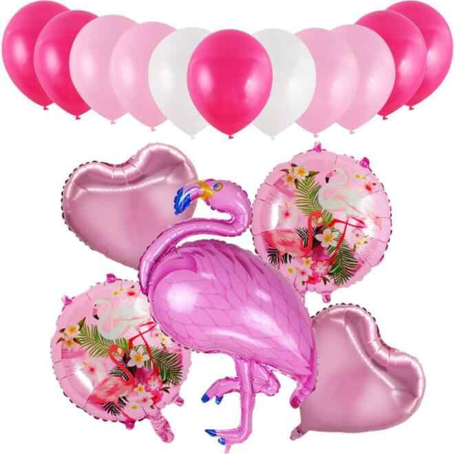 16pcs/set Flamingo balloon Aluminum foil balloon Hawaiian jungle party supplies wedding birthday party decor supplies kid toys