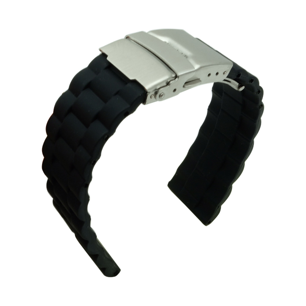 For Any watchband 20 22 mm Rubber Watch Band Strap Straight End Bracelet Stainless Steel Double Folding Clasp Watchband