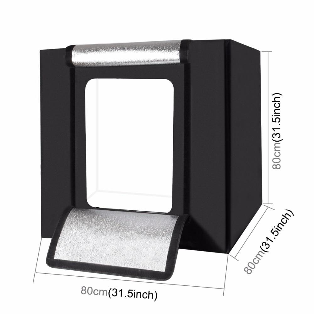 Lighting /& Studio 80cm Folding Portable 80W 8500LM White Light Photo Lighting Studio Shooting Tent Box Kit with 3 Colors Backdrops Color : Color2 Black, White, Orange
