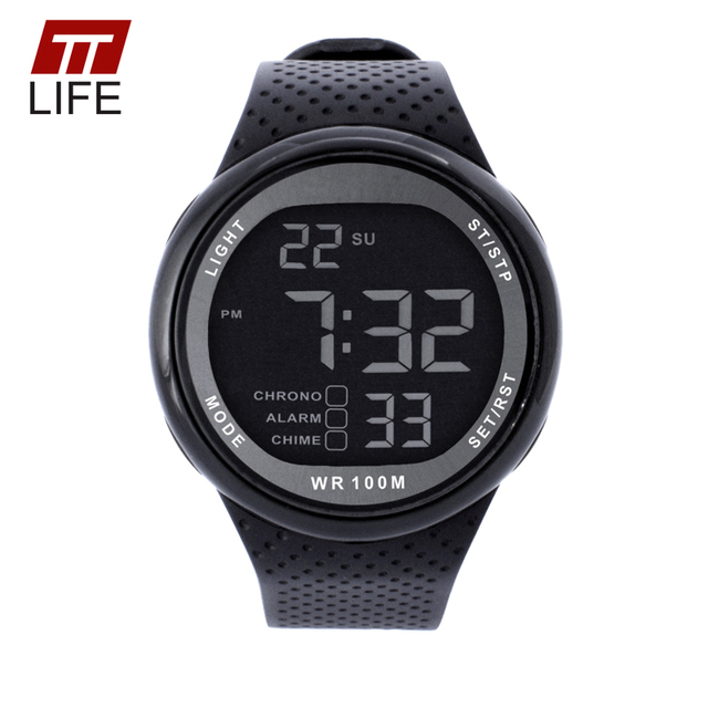 TTLIFE 100M Waterproof Mens Watches Outdoor Sports Minimalist Digital 10ATM Swimming Diving EL Backlight Wristwatch Reloj Hombre