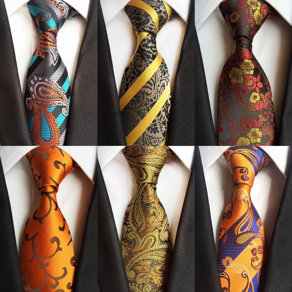New Design Stripes Gold Neck Ties 100% Silk Classic Men Tie 8cm Paisley Ties For Men Necktie Business Wedding Tie Party Gravatas