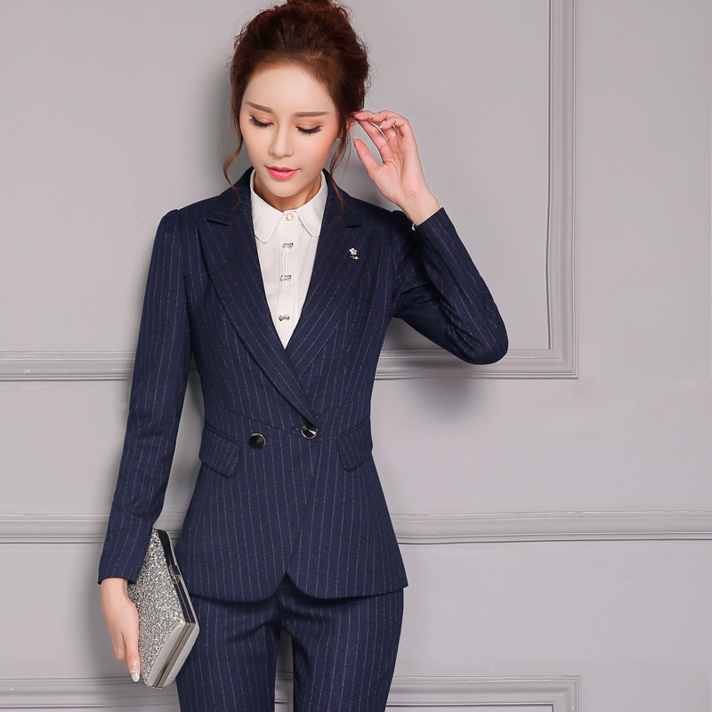 30e05367ff00a Female models OL Business Long sleeves Slim Was thin Black stripes Pants  suit-in Pant Suits from Women s Clothing   Accessories