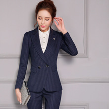 Female models OL Business Long sleeves Slim Was thin Black stripes Pants suit