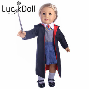 Волшебное пальто + свитер + рубашка + галстук + платье + волшебная палочка, подходит для 18 дюймов, американский и 43 см, аксессуары для детской к...