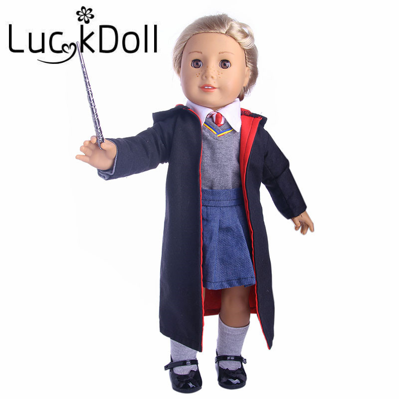 New arrivals 1set=Coat+clothes+shirt+tie+dress+socks+stick fit 18 inch American girl dol ...
