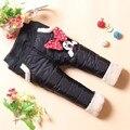 2016 crianças mini mouse engrossar calças à prova de vento de inverno calças de veludo meninas do bebê calças de inverno das crianças meninas criança calças de algodão