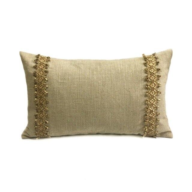 Decorative Natural Heavy Cotton Linen Trims Waist Pillow Case Home Sofa Car Chair Lumbar Cushion Cover
