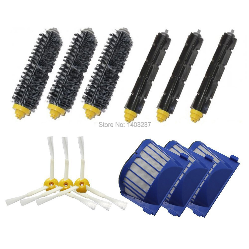Aero Vac Filter+ 3 pairs(Bristle Brush Flexible Beater Brush)+3PCS 3-Armed Side Brush for iRobot Roomba 600 Series 3 bristle