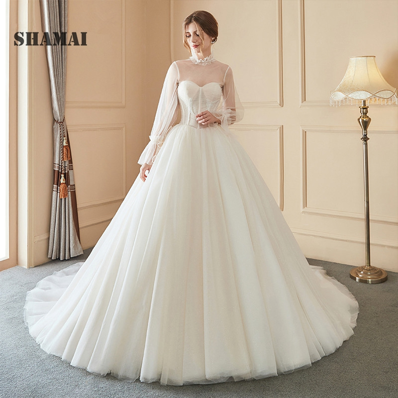 SHAMAI Simple Wedding Dresses 2019 Bride Dress Elegant