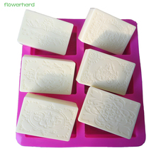 6 Cavities Silicone Soap Mold DIY Wedding Handmade Craft Gift Lace Rectangular Oval Cake Decorating Tools Making