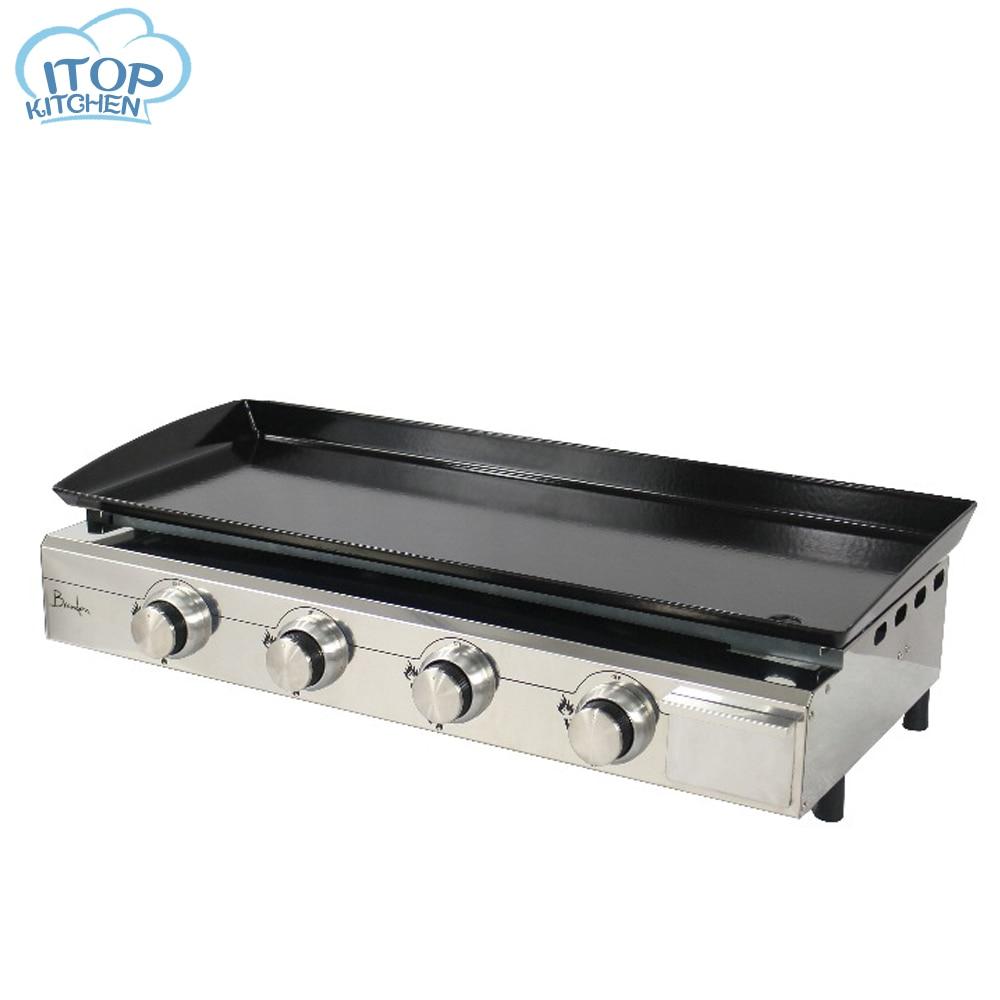 4 Burners LPG Gas BBQ Grills Plancha Heavy Duty Grills Machine Outdoor Kitchen Barbecue Tools Iron