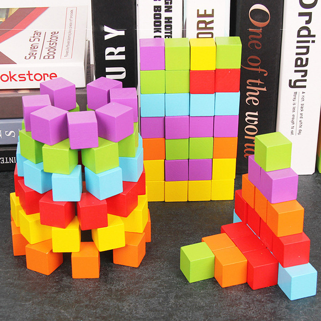 100pcs 2.5cm Wooden Cubes Building Blocks Stacking Toy for Children Mathematics Teaching Square Baby Color/ Shape Learning Toys