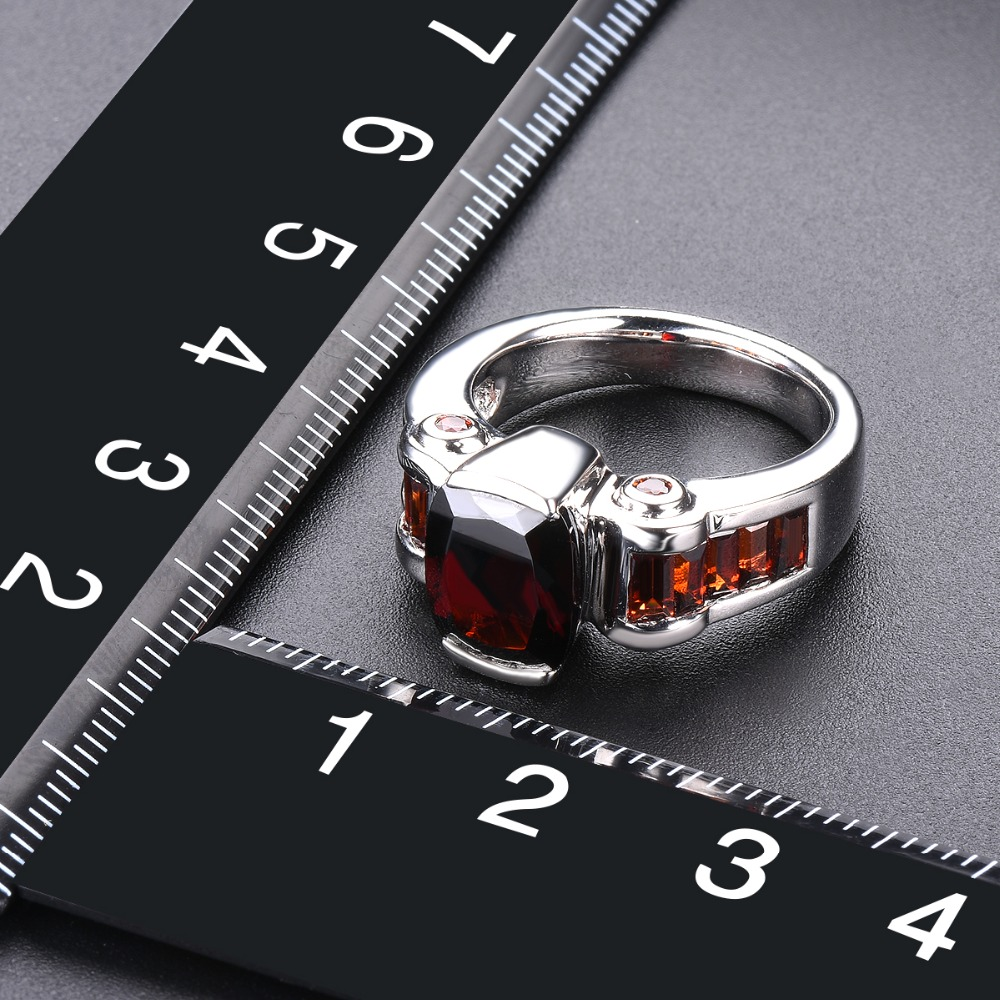 Hutang grenat anneaux de mariage bague en pierre naturelle solide 925 en argent Sterling lunette réglage bijoux de pierres précieuses fines pour les femmes filles nouveau - 6