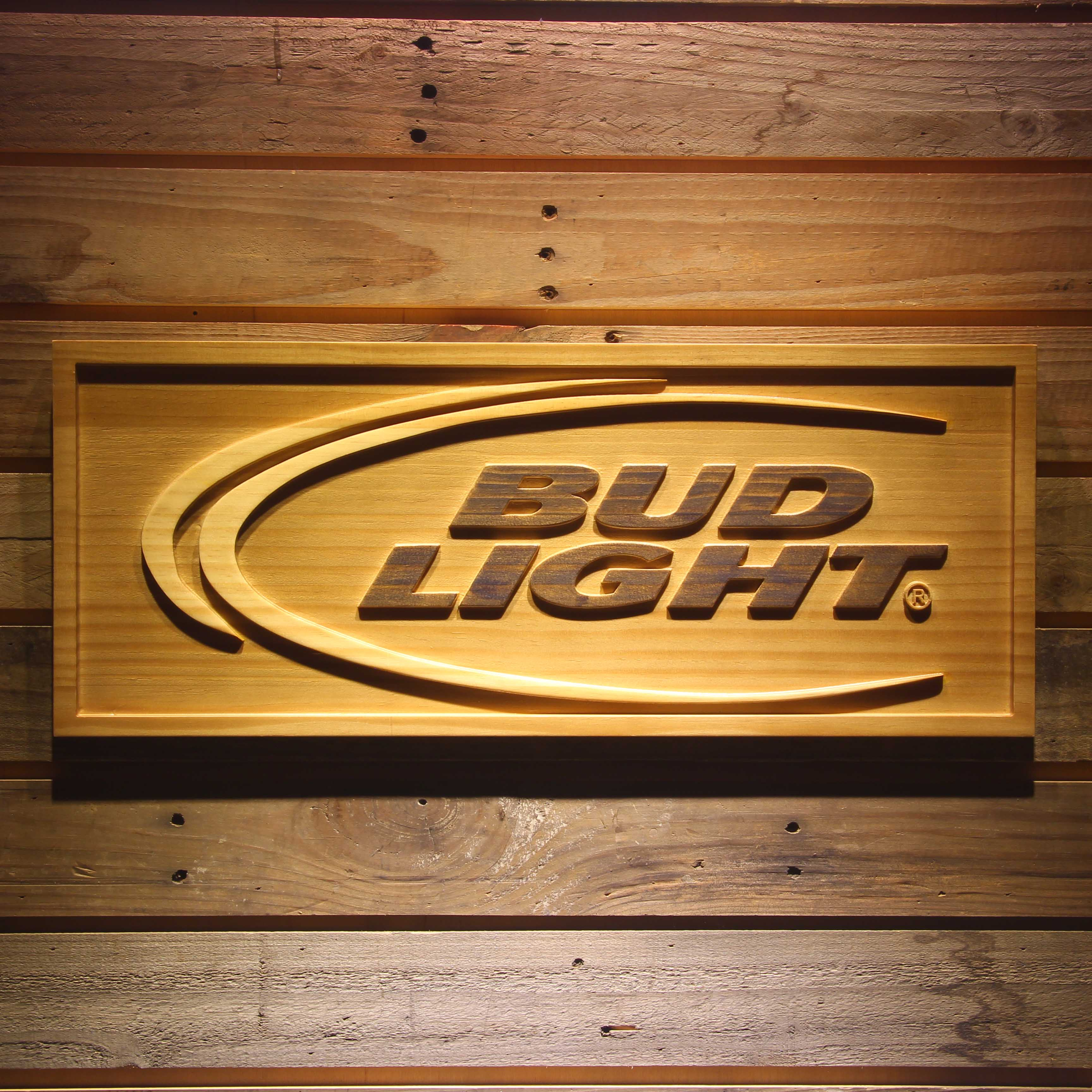 BUD <font><b>LIGHT</b></font> Beer 3D Wooden Sign