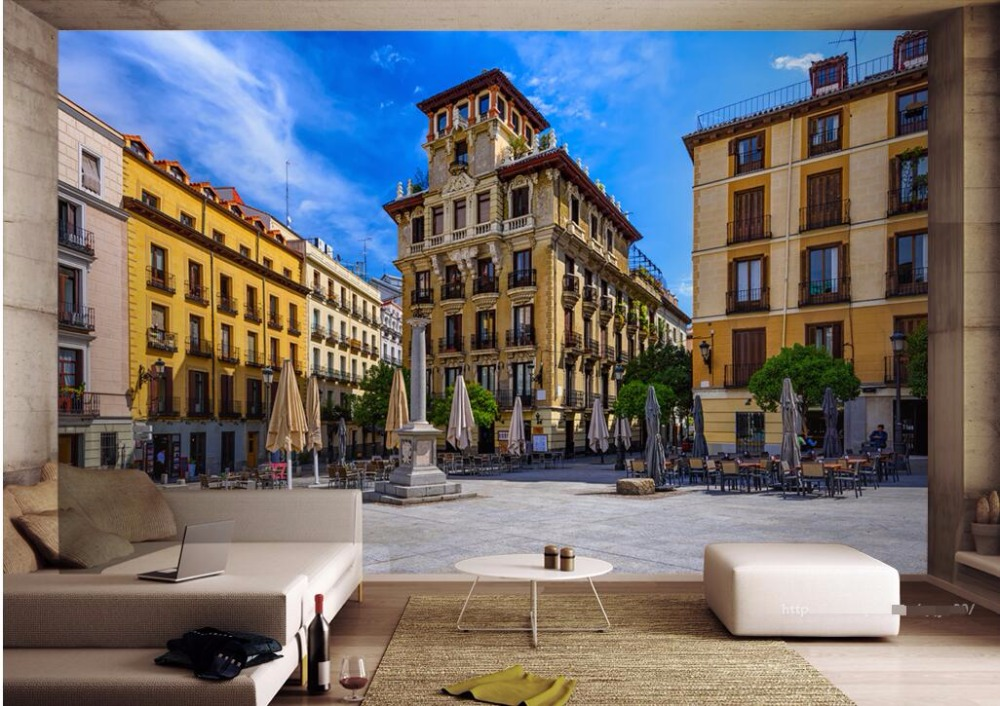 3d wall murals wallpaper for walls 3 d photo wallpaper Street view of Madrid, Spain room picture decor Custom mural painting tryp madrid chamberi ex tryp alondras 3 мадрид