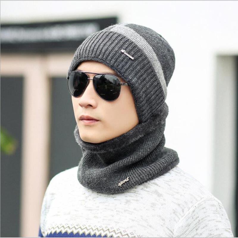 2018 Hot Selling 2Pcs ski Cap And Scarf Cold Warm Winter Hat For Women Men Knitted hat Bonnet Warm Cap   Skullies     Beanies
