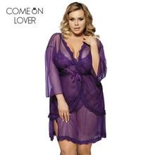 LE8249 Comeonlover высокое качество 3 шт. сексуальная ночная рубашка фиолетовый цвет плюс размер сексуальное женское белье, пижама Прозрачная женская одежда для сна