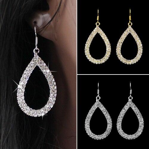 Boucles d'oreilles en cristal Bluelans pour femmes boucles d'oreilles en forme de goutte d'eau en strass brillant