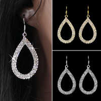Bluelans Crystal earrings for women Teardrop Shaped Rhinestone Shiny Drop Earrings