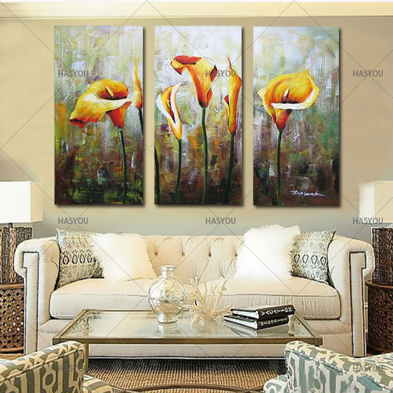 newest landscape picture 3 Piece No Frame Modern flower Canvas oil  Paintings yellow lily Wall Art Oil Painting Room decoration